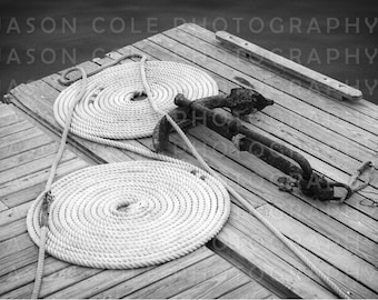 Rope & Anchor - Black and White, Nautical Photograph