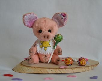 piggy pink pig handmade toy Teddy's pig plush pig swine in the bib sweet little pig cheerful pig