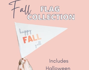 Printable Fall Pennant Flag Bundle + Free Fall Printable Activity (Includes Halloween Flags & Thanksgiving Flags)