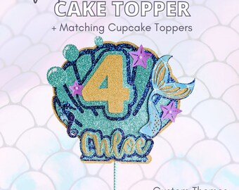 Custom Mermaid Cake Topper Includes Matching Mermaid Cupcake Mini Toppers, Mermaid and Under The Sea Party Theme