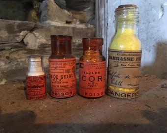 Old bottles pharmaceutical, dangerous, poison, apothecary, amber, orange.