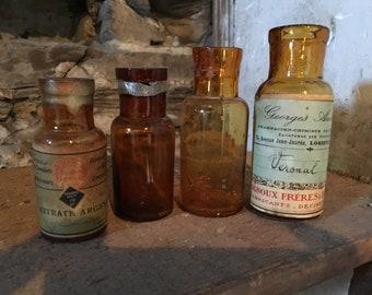 Old pharmaceutical bottles dangerous, poison, apothecary, amber, orange,