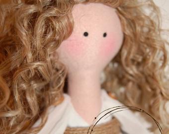Tilda doll, Handmade doll, Handmade Rag Doll, Cloth doll, Textile doll, Collectible doll, Soft bodied doll, Blue floral dress. Small doll.