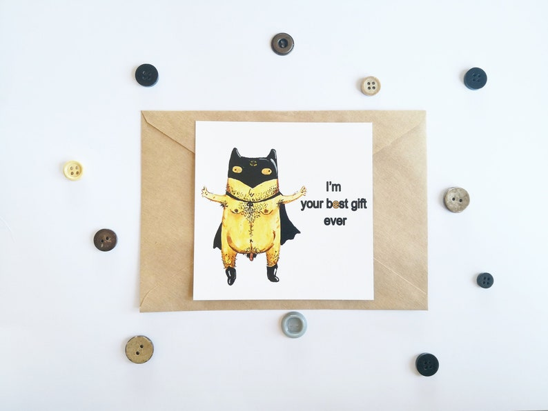 image about Batman Printable Birthday Card identified as Batman erotic card, Batman Birthday, Nude printable, Amusing postcards, Coworker card, Bare prints, Human body beneficial, Humorous artwork print, Gentleman artwork