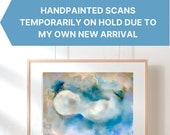 Personalised Baby Scan Print, Original Hand Painted Ultrasound Art, Baby Art, Baby Shower, Gender Reveal, Rainbow Baby, Miscarriage Memorial