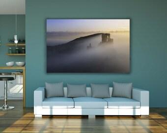 Wall Art Print | Corfe Castle Spring Sunrise | Gloss Print, Fine Art Print or Canvass Wrap | Various sizes