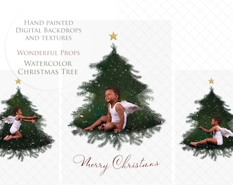 Digital Hand Painted Watercolor CHRISTMAS TREE for Photography - 2 layered PSD files of the same tree design and a Link to 1 Video Tutorial