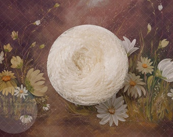 Hand Painted Digital Newborn Photography Backdrop - Curly Wool Nest Daisy Brown Tones - 1 flattened PNG