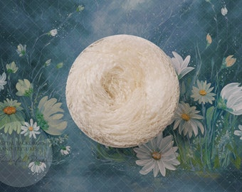 Hand Painted Digital Newborn Photography Backdrop - Curly Wool Nest Daisy Teal - 1 flattened PNG