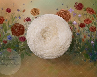 Hand Painted Digital Newborn Photography Backdrop - Curly Wool Nest Happy Flowers - 1 flattened PNG