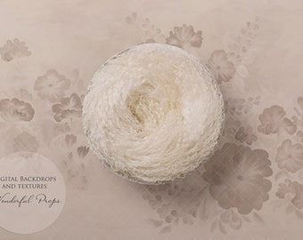 Hand Painted Digital Newborn Photography Backdrop - Curly Wool Nest Creamy Beige Tones Flowers - 1 flattened PNG