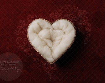Digital Newborn Photography Backdrop - Heart Nest Red Backdrop - Valentine's Day Themed - 1 Picture as shown