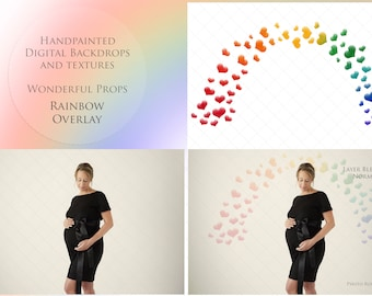 Watercolor Rainbow Overlay for Maternity Newborn Photography Handpainted Digital Hearts - 2 PNGs of the same and Link to 1 Video Tutorial A