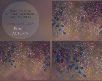 Purple Autumn Hand Painted Flowers Digital Backdrop for Maternity, Portrait Photography - 16 JPEGs of the same painting