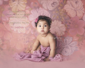 Le Jardin Maternity, Newborn, Portrait, Photography Hand Painted Digital Flower Backdrop 17JPEGs of the same painting