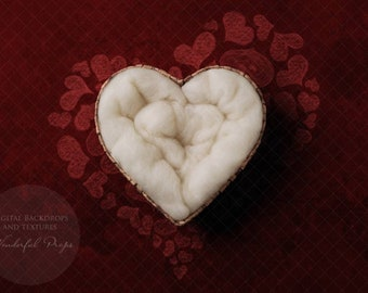 Digital Newborn Photography Backdrop - Red Backdrop Heart Nest - Valentine's Day Themed - 1 Picture as shown