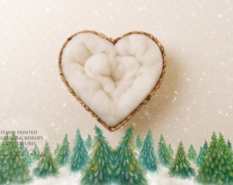 Digital Newborn Photography Backdrop - Hand Painted Snowy Christmas Trees Heart Shape Nest B - 1 Picture as shown