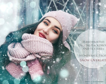 COLLECTION for Maternity, Newborn, Portrait, Nature Photography - 21 JPG Digital Snow Overlays + BONUS 19 jpg Digital Bokeh Overlays