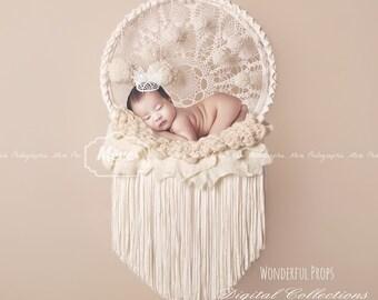 Snowflake Pompom Ivory Dream Catcher - Digital Backdrop - Photo Prop for Newborn Photography
