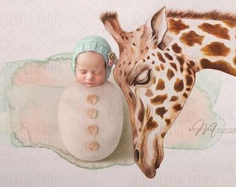 Digital Newborn Photography Prop Backdrop - Giraffe - Hand Drawing - 1 JPG