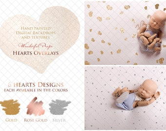 6 Digital Hearts Designs PNG Overlays for Photography with Transparent Background - each (the same ones) in Gold, Rose Gold and Silver Color