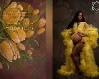 Yellow Tulips Hand Painted Digital Backdrop for Maternity, Newborn, Portrait Photography - 17 JPEGs of the same painting