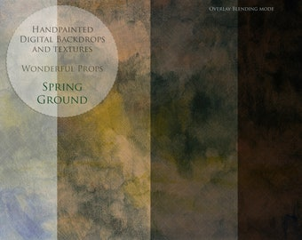 Hand Painted Digital Texture Backdrop for Maternity, Newborn, Portrait, or Fashion Photography - Spring Ground - 10 color JPEGs