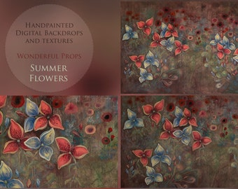 Summer Flowers Hand Painted Digital Flower Backdrop for Maternity, Newborn, Portrait Photography - 18 JPEGs of the same painting