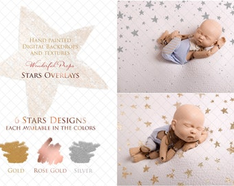 6 Digital Stars Designs PNG Overlays for Photography with Transparent Background - each (the same ones) in Gold, Rose Gold and Silver Color