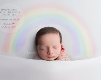 COLLECTION Watercolor Rainbow Overlays for Maternity Newborn Photography - Handpainted Digital Overlays - 20 PNGs and 2 Video Tutorial Links