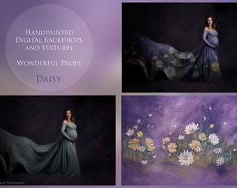 Daisy Hand Painted Digital Backdrop for Maternity, Newborn, Portrait, Photography - 7 JPEGs of the same painting