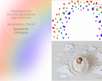 Watercolor Rainbow Overlay for Maternity Newborn Photography Handpainted Digital Hearts - 2 PNGs of the same and Link to 1 Video Tutorial B