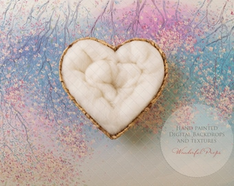 Digital Newborn Photography Backdrop - Heart Shaped Nest - Pastell Spring - Blue and Rosy Tones 1 flattened JPG