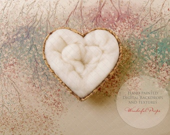 Digital Newborn Photography Backdrop - Heart Shaped Nest - Pastell Spring - Natural Tones 1 flattened JPG