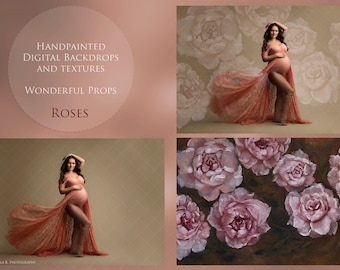 Maternity, Newborn, Portrait, Fashion Photography - Digital Backdrop - Hand Painted Roses- 11 JPEGs of the same painting