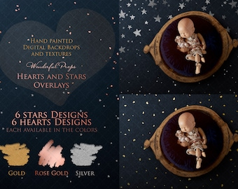 6 Digital Hearts and 6 Digital Stars Designs PNG Overlays for Photography with Transparent Background - in Gold, Rose Gold and Silver Color