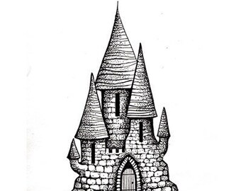 Lavinia Stamps, Fairy Castle 2, Fairy, Castle, Magical, Mystical, Acrylic Stamps, Cling Stamps, Papercraft, Scrapbooking, Silhouette
