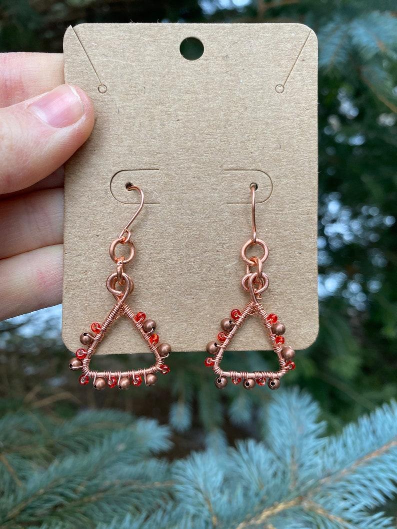 Triangle Copper Wire Wrap Earrings