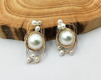 14K gold filled wire wrap boho pearl  stud earrings , Modern post earrings,  Gift for Women handmade earring for Christmas T158