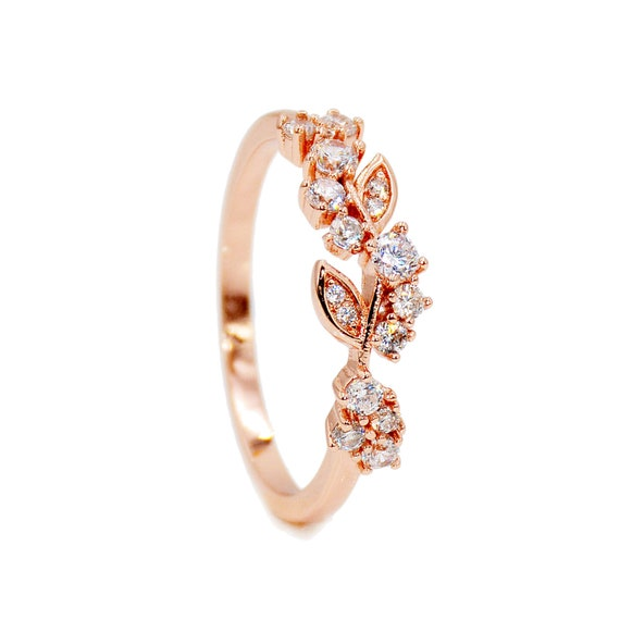 Flower Leaf Micro Pave Cubic Zirconia Stone Rose Gold Color ~ Ring size 7 8 9