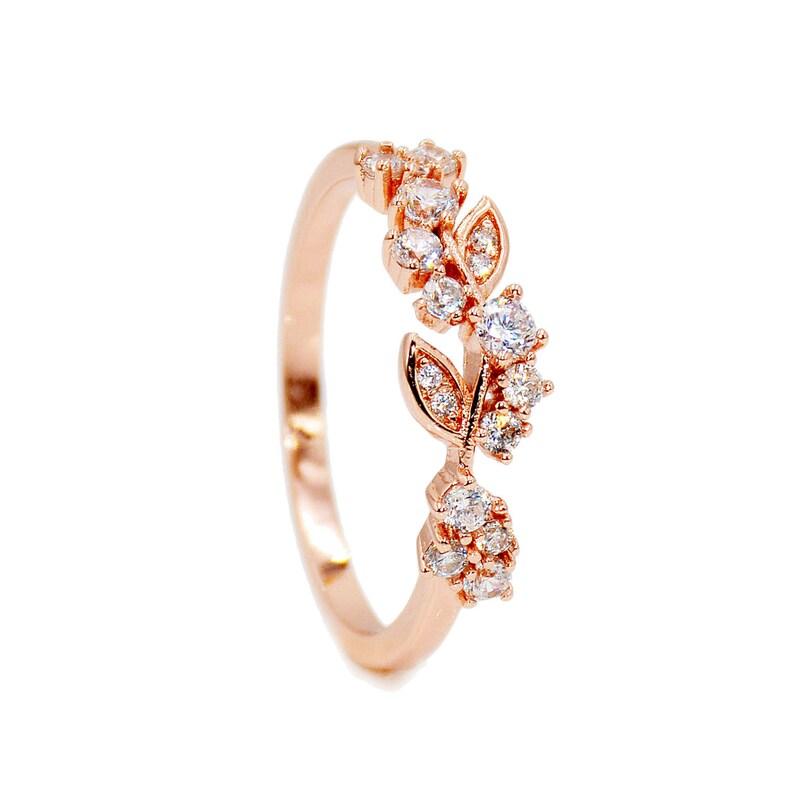 4531644297b900 Delicate Cluster Ring Gold leaf rings Rose Gold color | Etsy