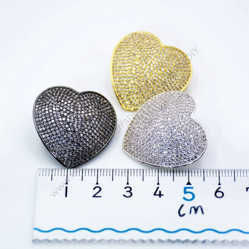 GoldRose GoldSilverBlack Plating Micro Pave Cubic Zirconia Lock Clasp 25x25mm T546 Beads Clips Full Clear CZ Love Heart Shaped Clasp