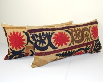 Extra Long Pink Suzani Cushion Cover Tribal House Decor 12 x 36 Handmade embroidered textile from Uzbekistan