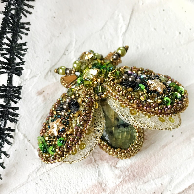 91b377be69a08e Labradorite bead embroidery moth brooch. Beaded statement bug