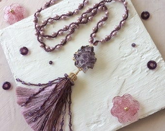 Necklace long necklace necklace with amethyst handmade necklace jewelry handmade jewelry Y necklace