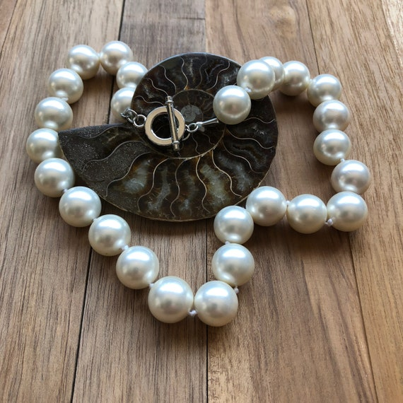 Shell Pearl Necklace/Vintage Shell Pearl Necklace/