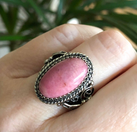 Rhodonite Ring/Natural Pink Rhodonite Ring/Real Rh