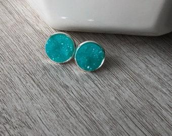 Ocean Blue 12mm Stud Earrings   bright blue   turquoise