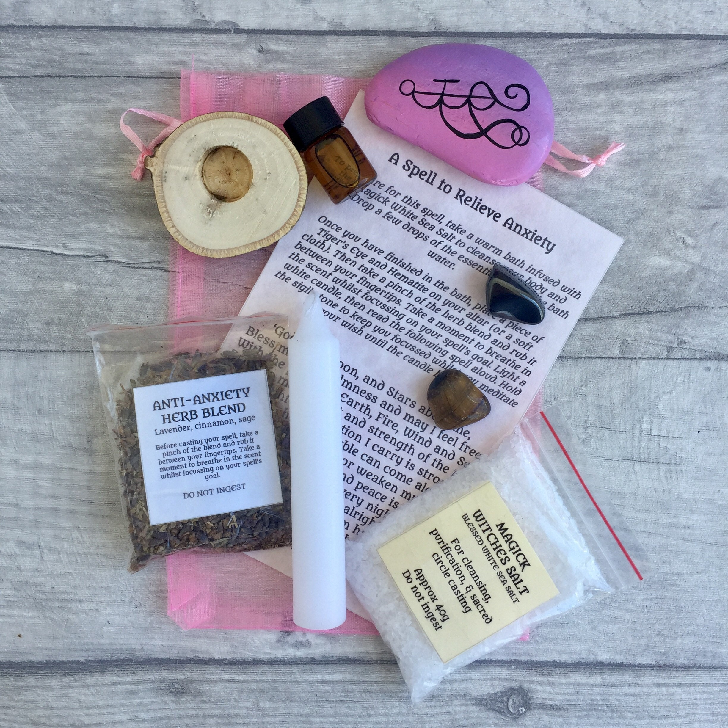 Anxiety Relief Spell Kit with Instructions, Anti-Anxiety Kit, Self Care  Kit, Witchcraft, Witch Pagan Wiccan, Spiritual, Crystals, Sigil