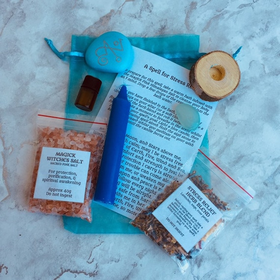 Stress Relief Self Care Spell Kit with Instructions, Herb Blend, Sigil  Stone, Witches Salt, Crystal, Witch Pagan Wiccan Mojo Bag Remedy